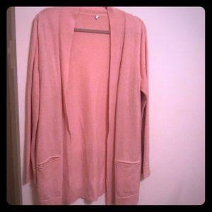 Margaret O'Leary long cotton cardi blush color